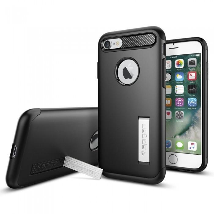 Чехол-накладка Spigen Slim Armor для Apple iPhone 7/8 пластик/силикон Black (SGP 042CS20647)для iPhone 7/8<br>Чехол-накладка Spigen Slim Armor для Apple iPhone 7/8 пластик/силикон Black (SGP 042CS20647)<br>