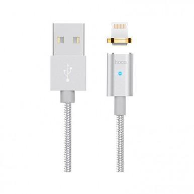 Кабель Hoco U16 магнитный  (USB) на (Lightning) 120см серебряный(Apple lightning) кабели, переходники, адаптеры<br>Кабель Hoco U16 магнитный  (USB) на (Lightning) 120см серебряный<br>