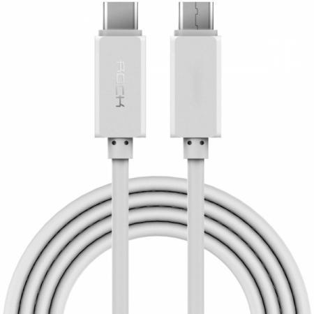 Кабель Rock RCB0412 (Type-C) на (Type-C) 100см White(Type-C) кабели, переходники, адаптеры<br>Кабель Rock RCB0412 (Type-C) на (Type-C) 100см White<br>
