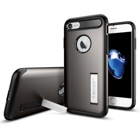 Чехол-накладка Spigen Slim Armor для Apple iPhone 7/8 пластик/силикон Стальной (SGP 042CS20301)для iPhone 7/8<br>Чехол-накладка Spigen Slim Armor для Apple iPhone 7/8 пластик/силикон Стальной (SGP 042CS20301)<br>