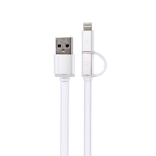 Кабель Remax Yards 2 в 1 с (USB) на (Lightning) или (micro USB) 100см белый(Apple lightning) кабели, переходники, адаптеры<br>Кабель Remax Yards 2 в 1 с (USB) на (Lightning) или (micro USB) 100см белый<br>