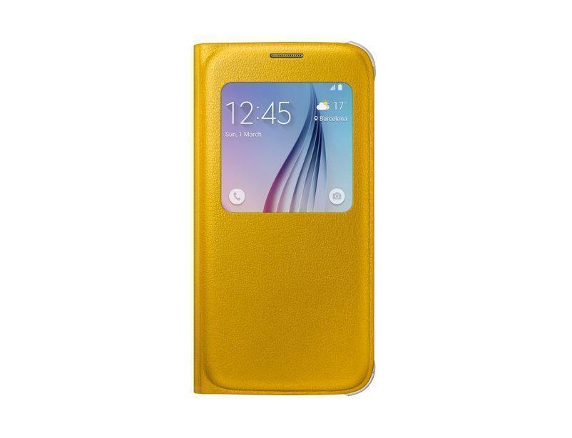 Чехол-книжка Samsung S-View Cover для Galaxy S6 полиуретан, поликарбонат жёлтый EF-CG920PYEGRUдля Samsung<br>Чехол-книжка Samsung S-View Cover для Galaxy S6 полиуретан, поликарбонат жёлтый EF-CG920PYEGRU<br>