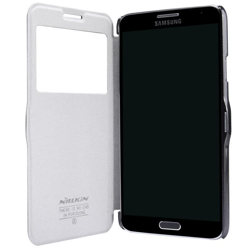 Чехол-книжка Nillkin Fresh Series для Samsung Galaxy Note 4 (SM-N900) натуральная кожа белый