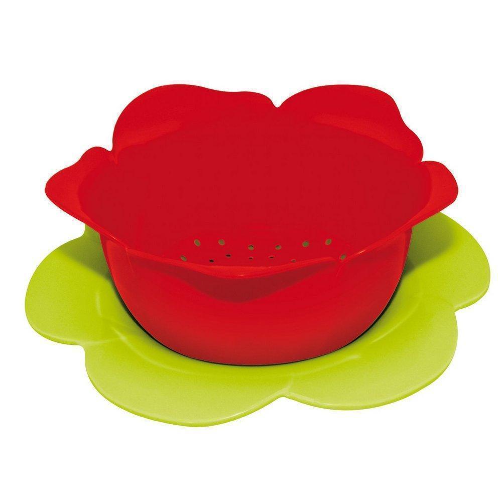 Zak!Designs Дуршлаг «ROSE» красный с зеленой подставкой