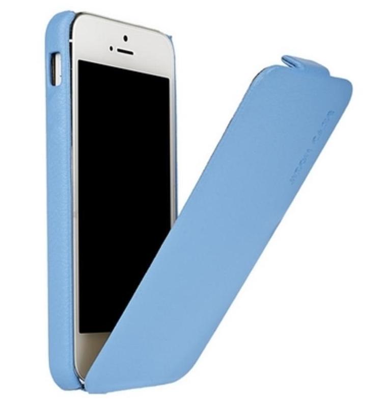 Купить Чехол-книжка Dicase Colorfull Leather Case для Apple iPhone SE/5S/5 натуральная кожа голубой