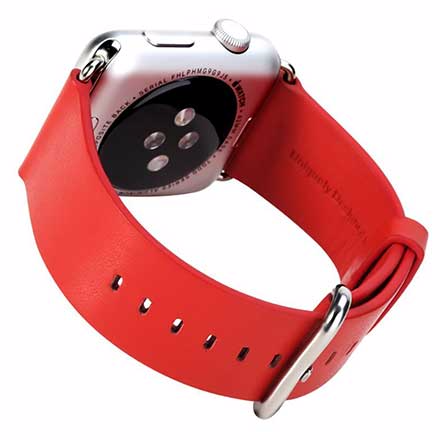 Ремешок кожаный Rock Genuine Leather Watchband для Apple Watch Series 1/2 42mm RedРемешки и браслеты для умных часов Apple<br>Ремешок кожаный Rock Genuine Leather Watchband для Apple Watch Series 1/2 42mm Red<br>