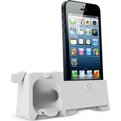 Подставка Аудиоусилитель Ozaki OM936GB O!Music Zoo Dog для Apple iPhone SE/5S/5 резиновая whiteдля iPhone 5/5S/SE<br>Подставка Аудиоусилитель Ozaki OM936GB O!Music Zoo Dog для Apple iPhone SE/5S/5 резиновая white<br>