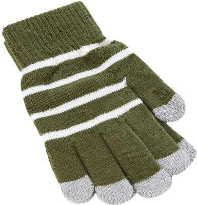 Перчатки для смартфона iCasemore трикотажные зеленоые-белая полоскаПерчатки для смартфона<br>Перчатки для смартфона iCasemore трикотажные зеленоые-белая полоска<br>