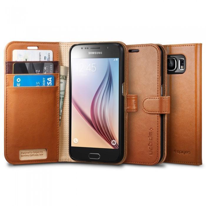 Чехол-книжка Spigen Wallet S SGP11350 для Samsung Galaxy S6 пластик, искусственная кожа Коричневыйдля Samsung<br>Чехол-книжка Spigen Wallet S SGP11350 для Samsung Galaxy S6 пластик, искусственная кожа Коричневый<br>