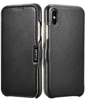 Купить Чехол-книжка i-Carer (RIX02bl) для Apple iPhone XS/X (10) натуральная кожа черный