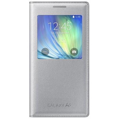 Чехол-книжка Samsung S-View Cover для Galaxy A5 полиуретан, поликарбонат серебристый EF-CA500BSEGRUдля Samsung<br>Чехол-книжка Samsung S-View Cover для Galaxy A5 полиуретан, поликарбонат серебристый EF-CA500BSEGRU<br>