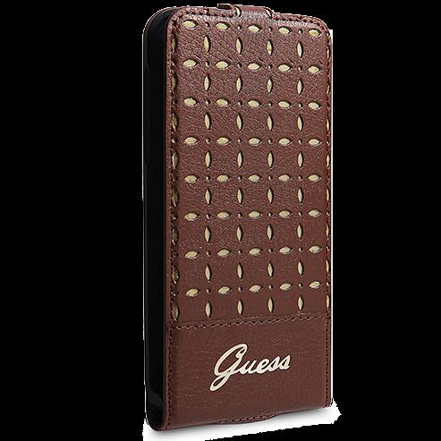 Чехол-книжка Guess Gianina Flip для Samsung Galaxy S5 натуральная кожа коричневыйдля Samsung<br>Чехол-книжка Guess Gianina Flip для Samsung Galaxy S5 натуральная кожа коричневый<br>