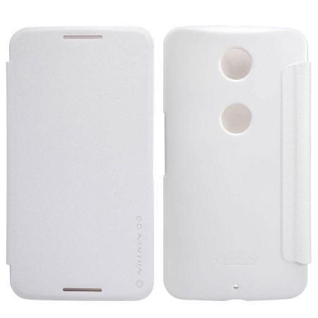 Чехол-книжка Nillkin Sparkle Series для Motorola Nexus 6 пластик-полиуретан (белый)для Motorola<br>Чехол-книжка Nillkin Sparkle Series для Motorola Nexus 6 пластик-полиуретан (белый)<br>
