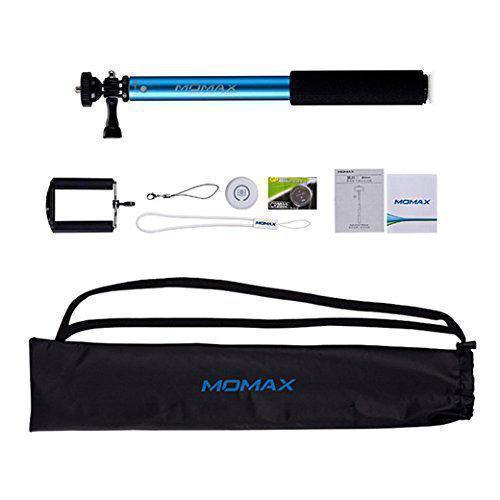 Монопод для смартфона Momax Selfifit KMS1 с Bluetooth кнопкой от 28см до 90см вес 200гр голубойМоноподы, Триподы и Пульты для селфи<br>Монопод для смартфона Momax Selfifit KMS1 с Bluetooth кнопкой от 28см до 90см вес 200гр голубой<br>