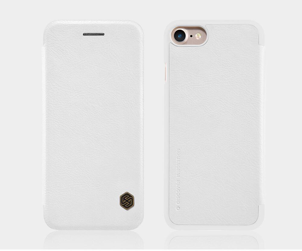 Чехол-книжка Nillkin QIN Leather Case для Apple iPhone 7/8 натуральная кожа белыйдля iPhone 7/8<br>Чехол-книжка Nillkin QIN Leather Case для Apple iPhone 7/8 натуральная кожа белый<br>