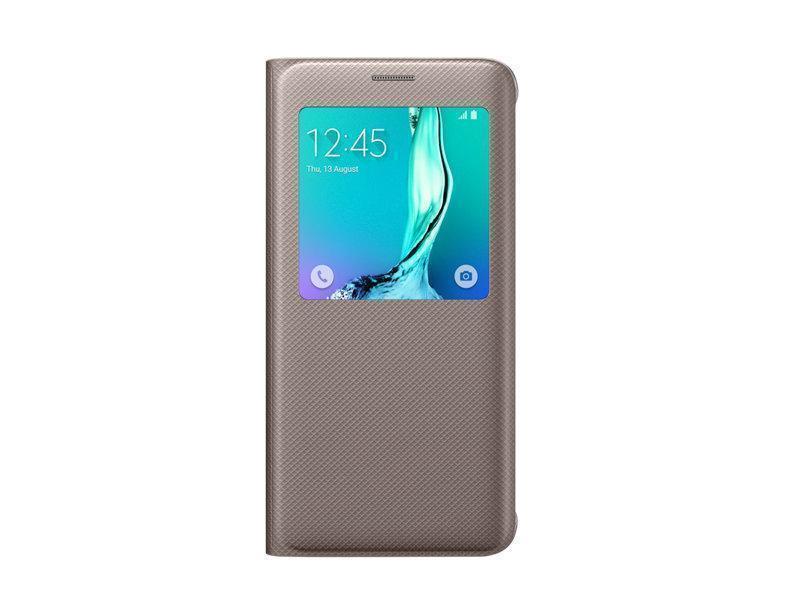 Чехол-книжка Samsung S-View Cover для Galaxy S6 Edge Plus полиуретан пластик золотой EF-CG928PFEGRUдля Samsung<br>Чехол-книжка Samsung S-View Cover для Galaxy S6 Edge Plus полиуретан пластик золотой EF-CG928PFEGRU<br>