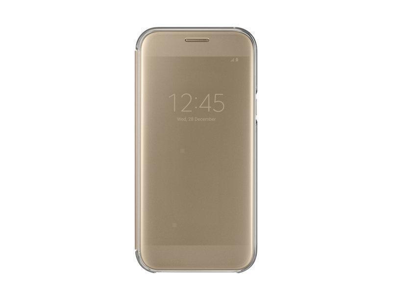Чехол-книжка Samsung Clear View Cover для Galaxy A5 (2017) полиуретан, поликарбонат золотойдля Samsung<br>Чехол-книжка Samsung Clear View Cover для Galaxy A5 (2017) полиуретан, поликарбонат золотой<br>