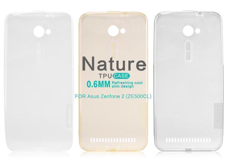 Чехол-накладка Nillkin Nature 0.6mm для Asus Zenfone 2 ZE500CL силиконовый прозрачно-золотойдля ASUS<br>Чехол-накладка Nillkin Nature 0.6mm для Asus Zenfone 2 ZE500CL силиконовый прозрачно-золотой<br>