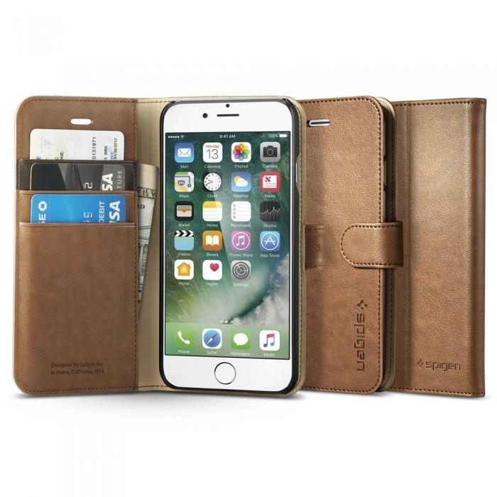 Чехол-книжка Spigen Wallet S для Apple iPhone 7/8 натуральная кожа Brown (SGP 042CS20546)для iPhone 7/8<br>Чехол-книжка Spigen Wallet S для Apple iPhone 7/8 натуральная кожа Brown (SGP 042CS20546)<br>