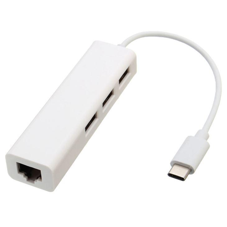 Адаптер Palmexx Type-C на USB 2.0x3шт и Ethernet (локальная сеть) 10см белыйКабели-адаптеры (Type-C)<br>Адаптер Palmexx Type-C на USB 2.0x3шт и Ethernet (локальная сеть) 10см белый<br>