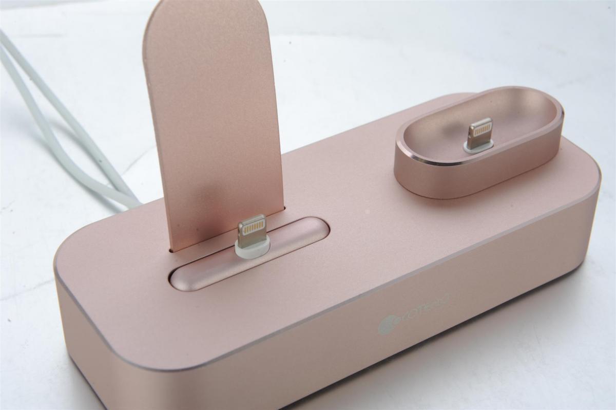 Док-станция COTEetCI Base22 Dock 2 в 1 для Apple iPhone X / 8 Plus/ 8 / Apple AirPods+Lightning (CS7205-GY) Rose Golg