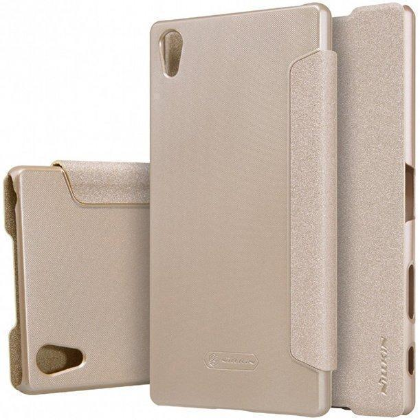 Чехол-книжка Nillkin Sparkle Series для Sony Xperia Z5 / Z5 Dual пластик-полиуретан (золотой)