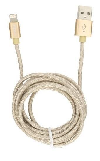 Купить Кабель Rock Metal Charge & Sync Round Cable (USB) на (Lightning) 180см (Gold)