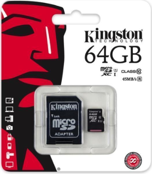 Карта памяти Kingston microSDXC Class 10 UHS-I 45MB/s 64GB (SDC10G2/64GB)