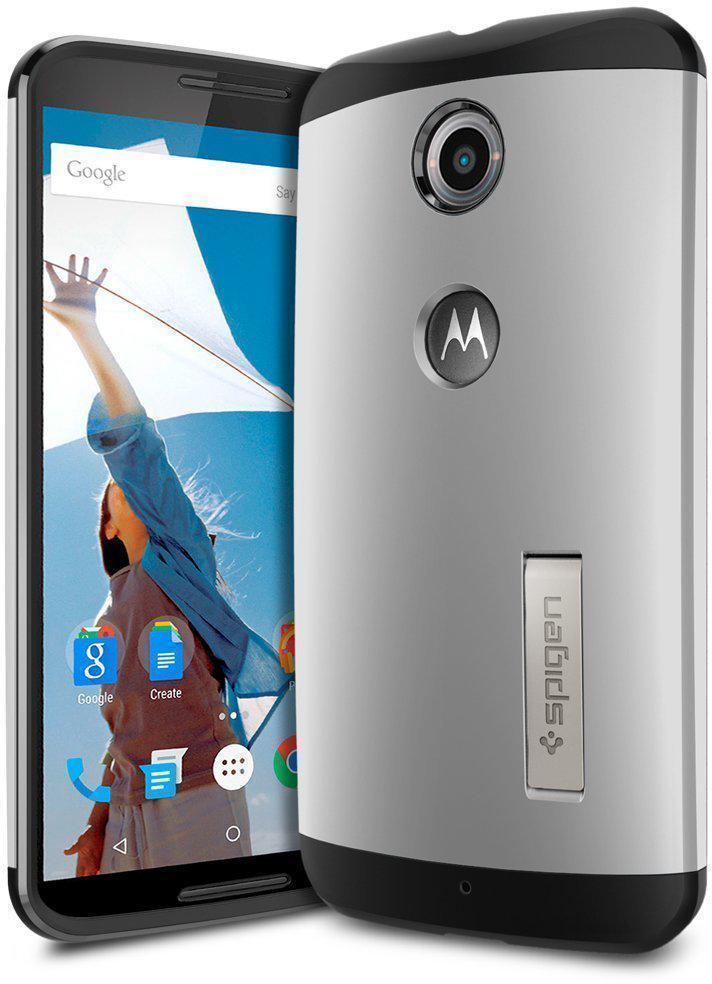 Чехол-накладка Spigen Slim  Armor (SGP11238) для Motorola Nexus 6 резина, пластик Серебристыйдля Motorola<br>Чехол-накладка Spigen Slim  Armor (SGP11238) для Motorola Nexus 6 резина, пластик Серебристый<br>