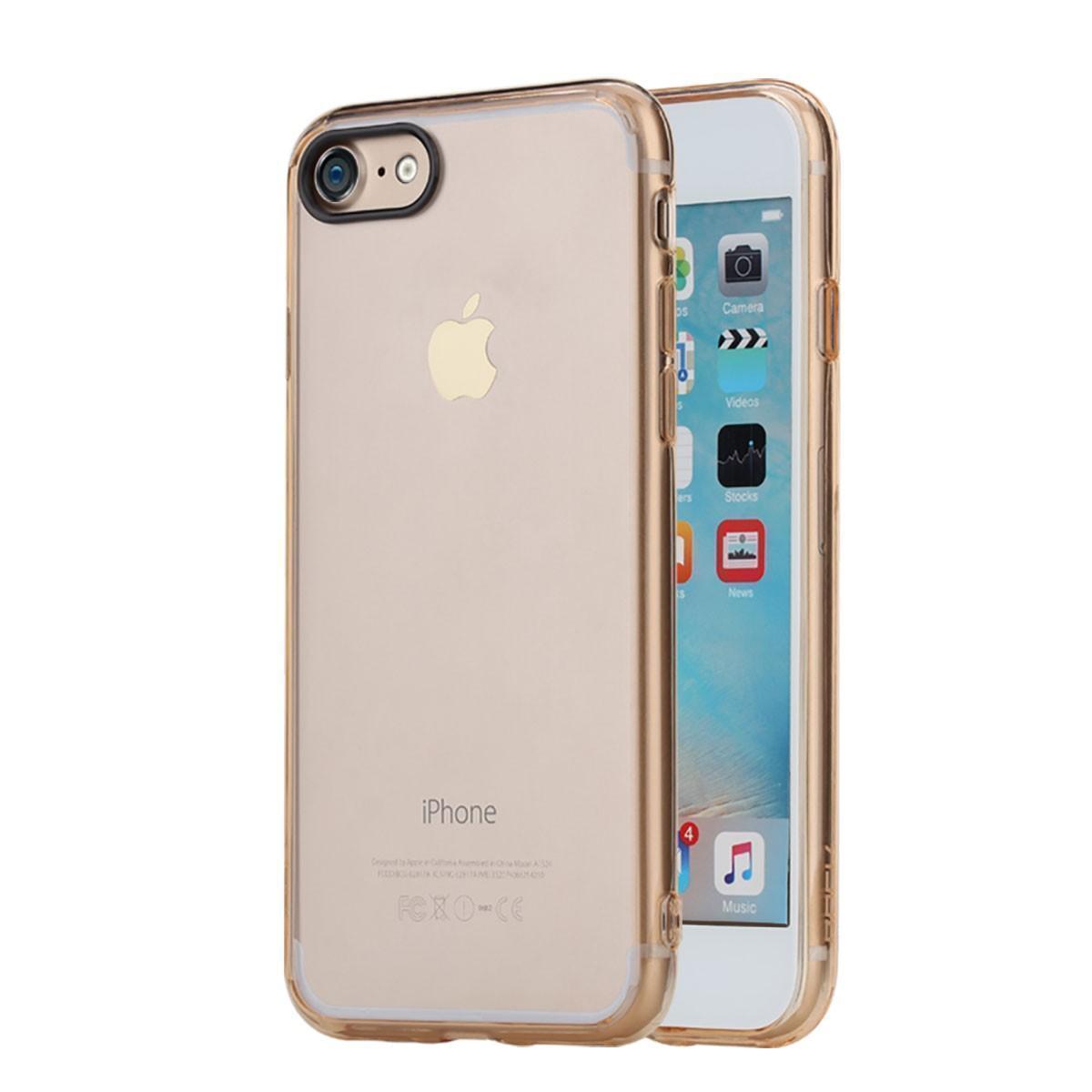 Купить со скидкой Чехол-накладка Rock Pure Series для Apple iPhone 7/8 пластик-силикон прозрачно-золотой