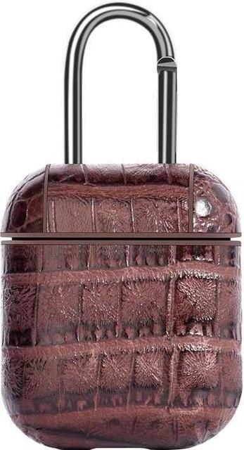 Чехол Devia Lux Series Case Suit для AirPods кожаный с тиснением под рептилию кофейный
