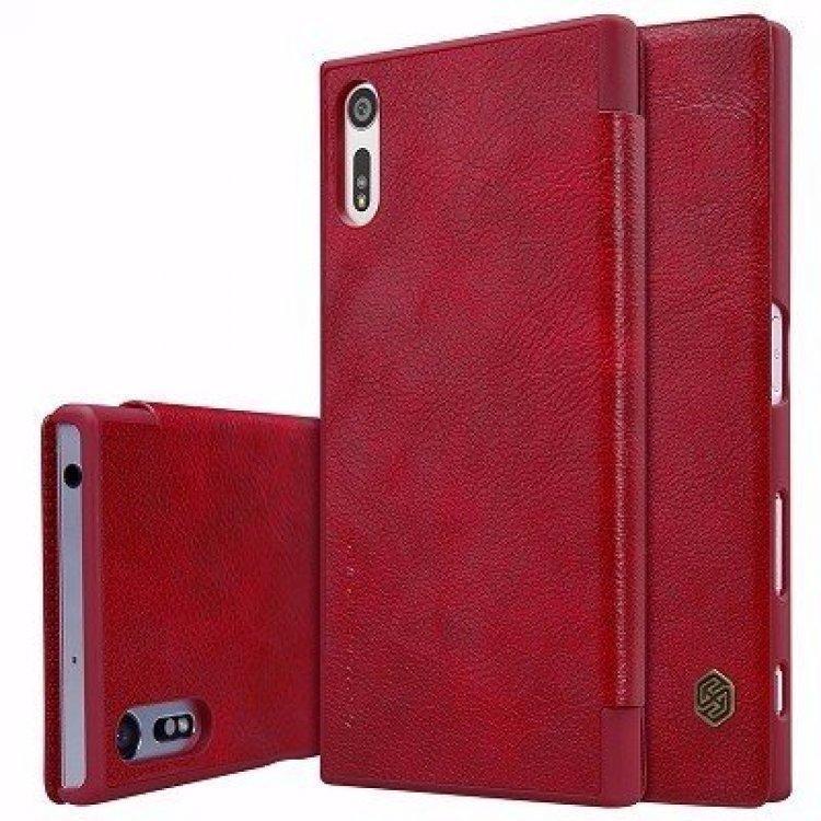 Чехол-книжка Nillkin QIN Leather Case для Sony Xperia XZ / XZ Dual натуральная кожа красныйдля Sony<br>Чехол-книжка Nillkin QIN Leather Case для Sony Xperia XZ / XZ Dual натуральная кожа красный<br>