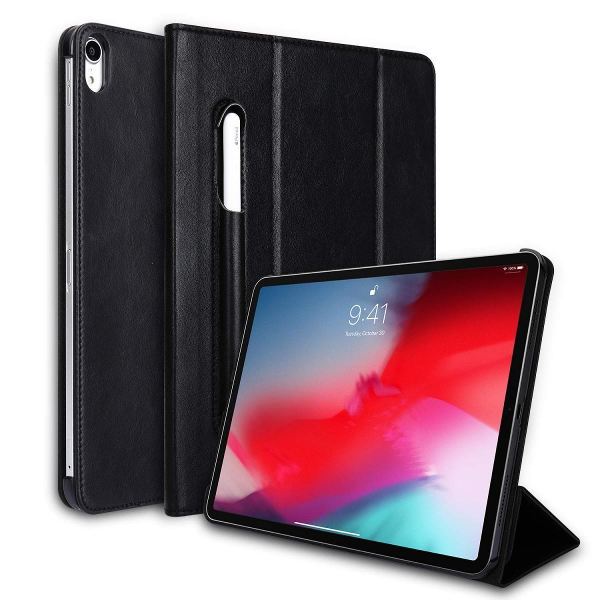 Купить Чехол-книжка Jisoncase для Apple iPad Pro 11 (2018) (искусственная кожа с подставкой/держатель для Apple Pencil) (черный)