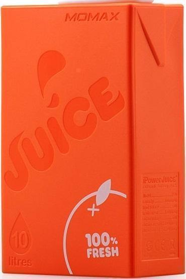 Универсальный внешний аккумулятор Momax iPower Juice+ 10000 mAh 1 А/ 2.4 А, USBx2 пласти оранжевыйУниверсальные внешние аккумуляторы<br>Универсальный внешний аккумулятор Momax iPower Juice+ 10000 mAh 1 А/ 2.4 А, USBx2 пласти оранжевый<br>
