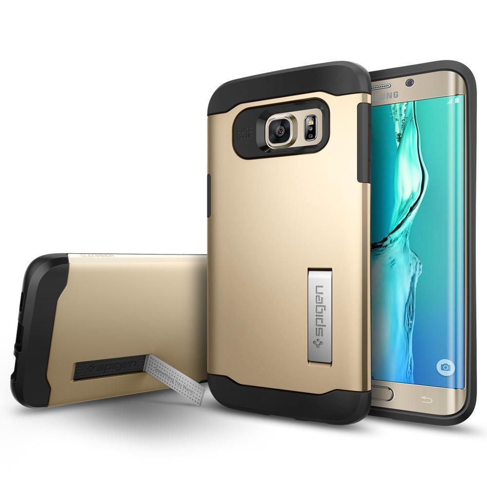 Чехол-накладка Spigen Slim Armor SGP11702 для Galaxy S6 Edge Plus резина, пластик (шампань)для Samsung<br>Чехол-накладка Spigen Slim Armor SGP11702 для Galaxy S6 Edge Plus резина, пластик (шампань)<br>