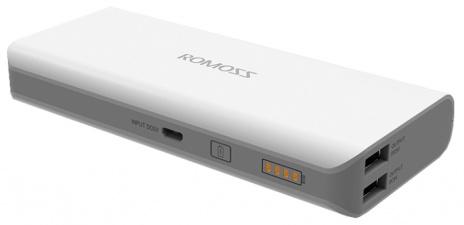 Универсальный внешний аккумулятор Romoss Sailing 5 13000 mAh, 1 А и 2.1 А, USBx2 пластик (белый)