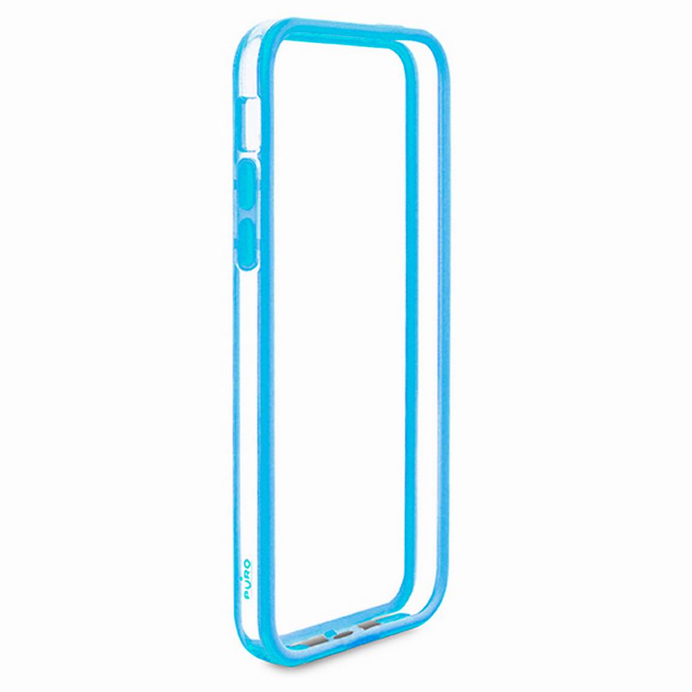 Чехол-бампер Puro Bumper Frame для Apple iPhone 5C (пластик/силикон) прозрачный голубойдля iPhone 5C<br>Чехол-бампер Puro Bumper Frame для Apple iPhone 5C (пластик/силикон) прозрачный голубой<br>