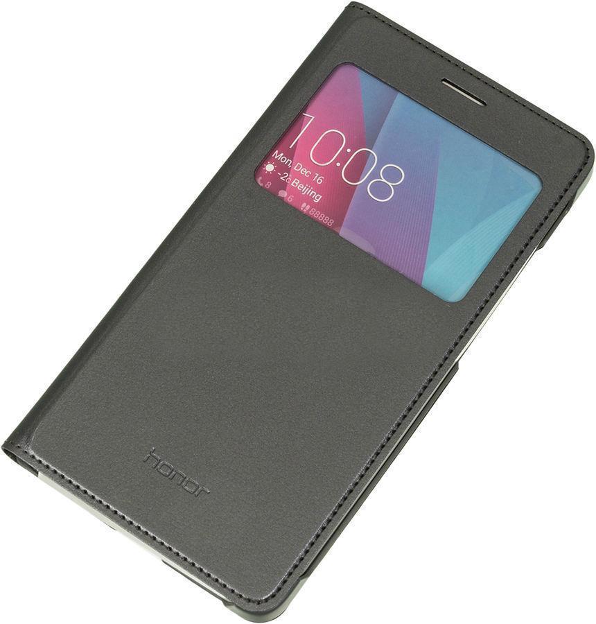 Чехол-книжка Armor Flip Cover для Huawei Honor 6 искусственная кожа с окном/силикон черный