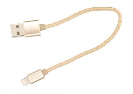 Кабель Rock Metal Charge & Sync Round Cable (USB) на (Lightning) 20см Gold