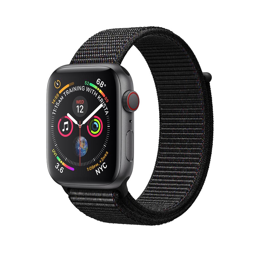 Apple Watch Series 4 44mm (GPS + Cellular) Space Gray Aluminum Black Sport Loop MTUX2