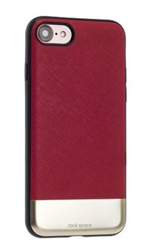 Чехол-накладка Rock Elite Series для Apple iPhone 7/8 натуральнач кожа-пластик-металл красныйдля iPhone 7/8<br>Чехол-накладка Rock Elite Series для Apple iPhone 7/8 натуральнач кожа-пластик-металл красный<br>