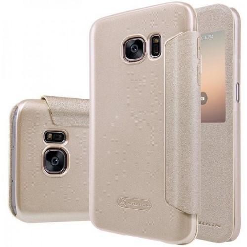 Чехол-книжка Nillkin Sparkle Series для Samsung Galaxy S7 (SM-G930) пластик-полиуретан золотойдля Samsung<br>Чехол-книжка Nillkin Sparkle Series для Samsung Galaxy S7 (SM-G930) пластик-полиуретан золотой<br>