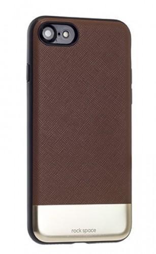 Чехол-накладка Rock Elite Series для Apple iPhone 7/8 натуральнач кожа-пластик-металл коричневый
