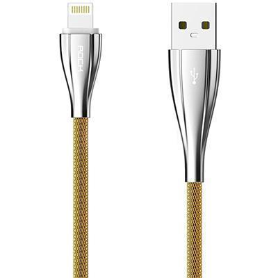 Кабель Rock Metal Data Cable (USB) на (Lightning) 100см металлический Gold(Apple lightning) кабели, переходники, адаптеры<br>Кабель Rock Metal Data Cable (USB) на (Lightning) 100см металлический Gold<br>