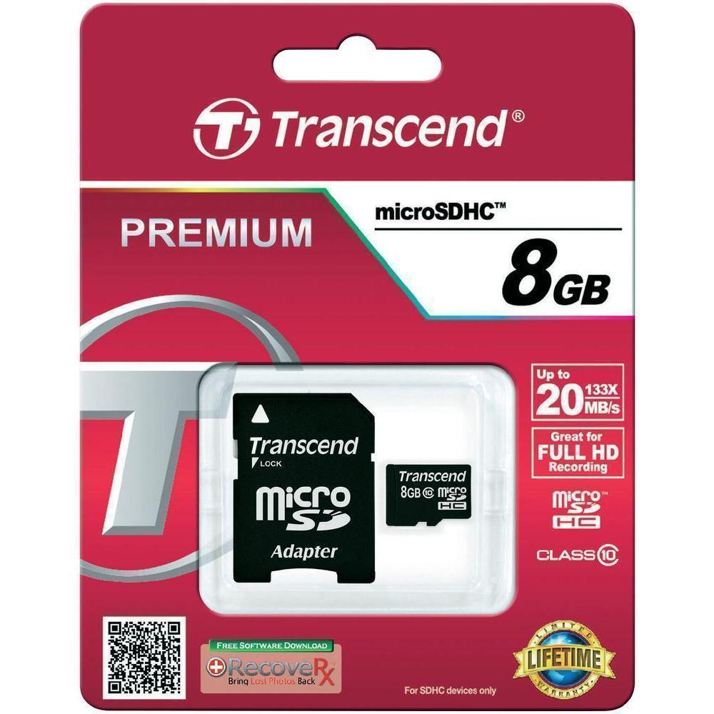 Карта памяти Transcend microSDHC Class10 UHS-I 20MB/s 8GB (TS8GUSDHC10)