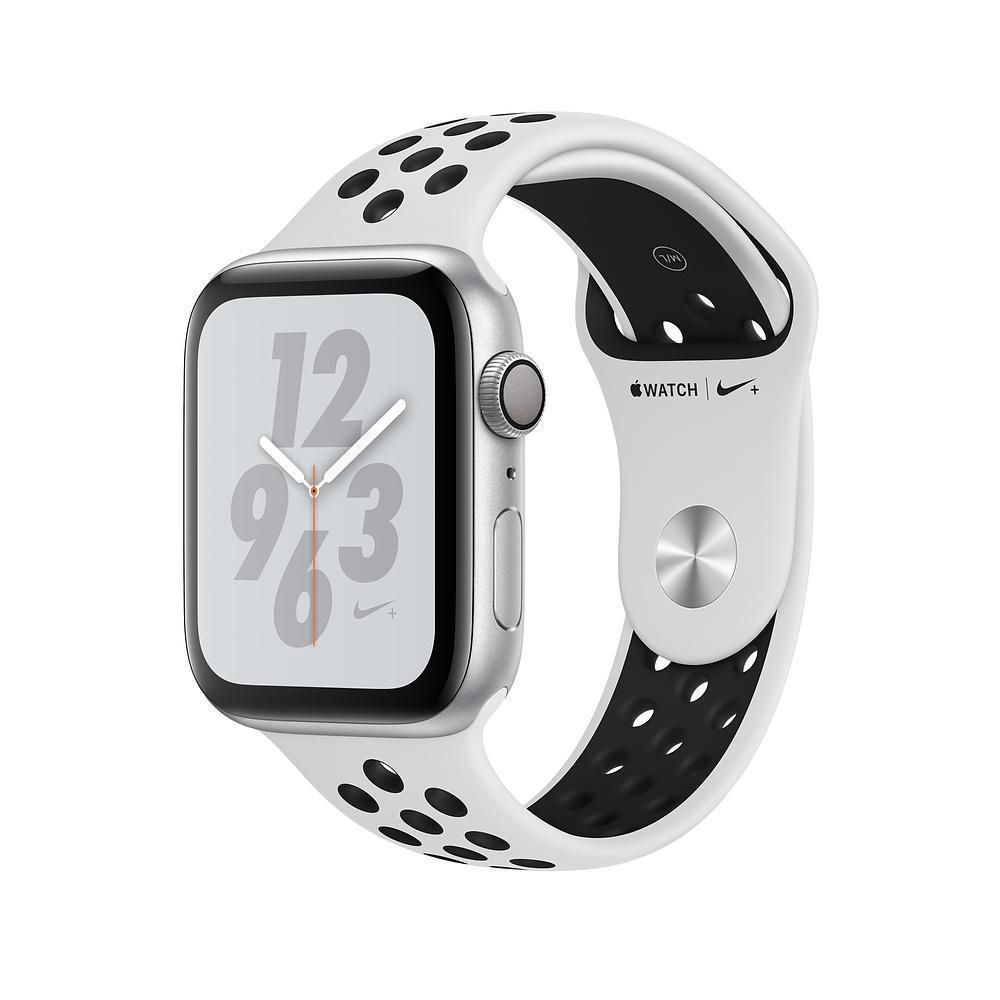 Купить Apple Watch Nike+ Series 4 44mm (GPS) Silver Aluminum Pure Platinum/Black Nike Sport Band (MU6K2)