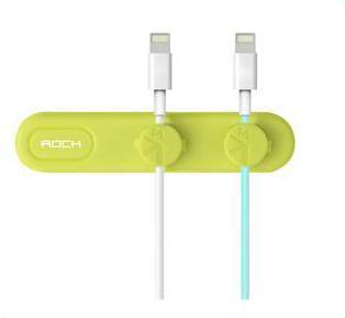 Магнитный держатель-зажим Rock M1 Magnetic Cable Clip для 2х проводов Green