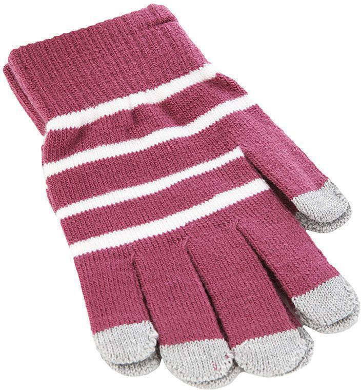 Перчатки для смартфона iCasemore трикотажные фиолетовые-белая полоскаПерчатки для смартфона<br>Перчатки для смартфона iCasemore трикотажные фиолетовые-белая полоска<br>