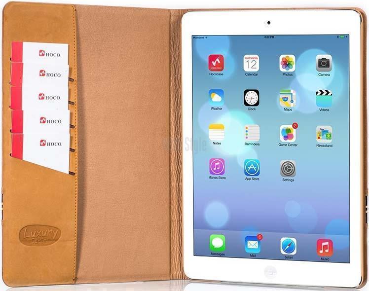 Чехол-книжка Hoco Luxury Brief Series для Apple iPad Air / 2017 (натуральная кожа) Brownдля Apple iPad Air<br>Чехол-книжка Hoco Luxury Brief Series для Apple iPad Air / 2017 (натуральная кожа) Brown<br>