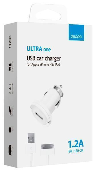 Автомобильное зарядное устройство Deppa (11208) USB 1200mA на + кабель витой Lightning 150 см White